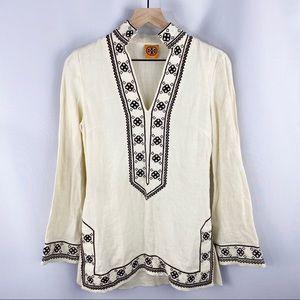 Tory Burch Embroidered Linen Tunic Cream Small